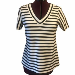 Jules and Leopold striped v-neck knit top